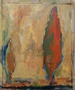 Danielle Vidal Ausseil Artiste acryl op canvas uit de serie : cypressen2019