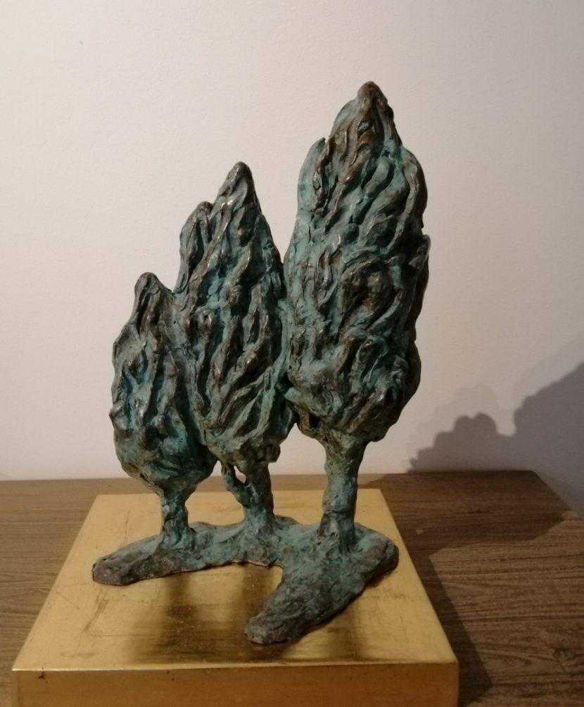 Danielle Vidal Ausseil Visual Art Scupture-bronze-on-a-gold-base-series-cypresses