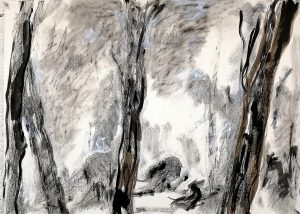 "Danielle Vidal Ausseil Drawing, from the series ""schaduwen"", mixed media, 56x77cm, 2019."