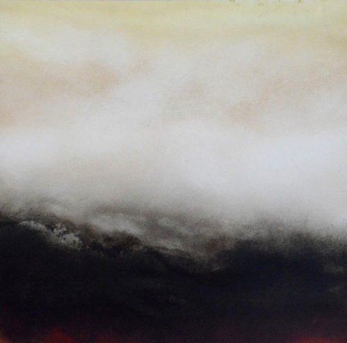 Helmut Feldmann Kupferdruckfarbe auf Karton Landschaft Januar II 2014